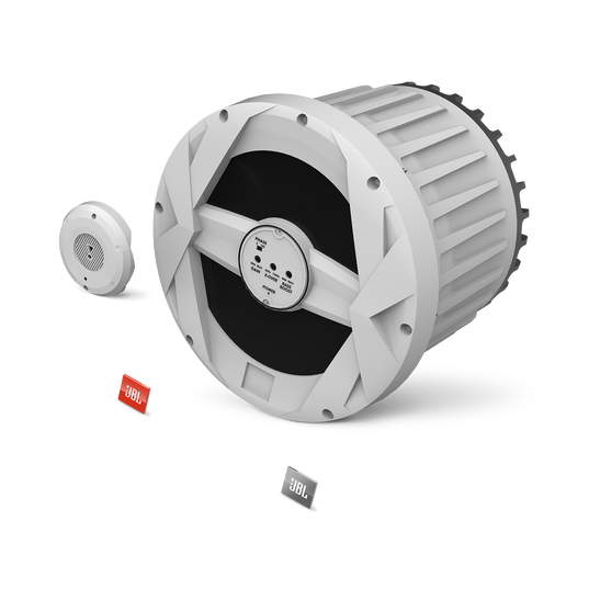 "JBL Marine BassPro 10-inch Powered Subwoofer - White Gloss - MBP10—10"" (250mm) Marine Audio 250W Powered Subwoofer System - Hero"