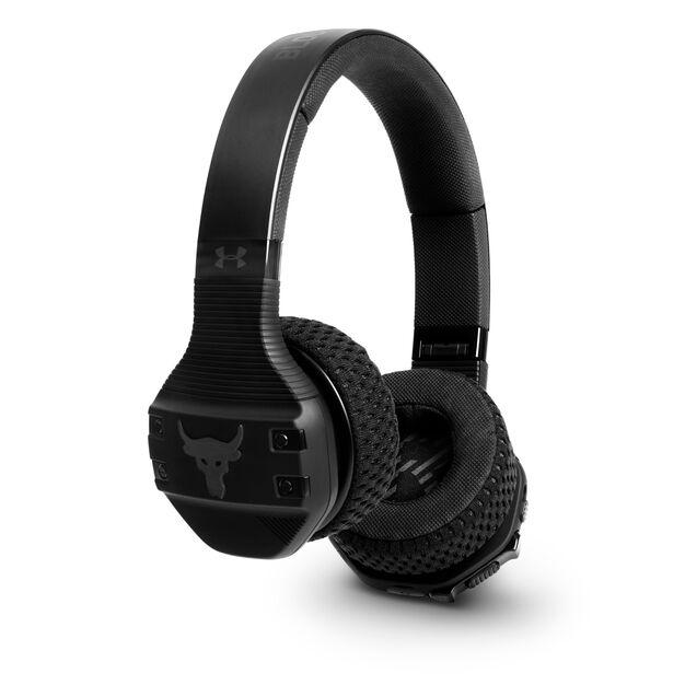 UA Sport Wireless Train Project Rock – Engineered by JBL - Black Matte - On-ear sport Headphones - Hero