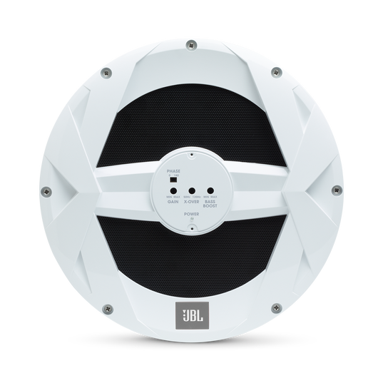"JBL Marine BassPro 10-inch Powered Subwoofer - White Gloss - MBP10—10"" (250mm) Marine Audio 250W Powered Subwoofer System - Front"