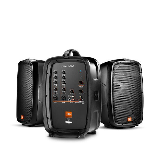 "JBL EON206P - Black - Portable 6.5"" Two-Way system with detachable powered mixer - Hero"