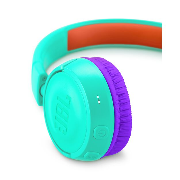JBL JR300BT - Teal - Kids Wireless on-ear headphones - Detailshot 2