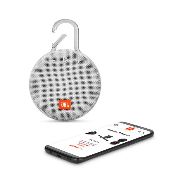 JBL CLIP 3 - Steel White - Portable Bluetooth® speaker - Detailshot 1