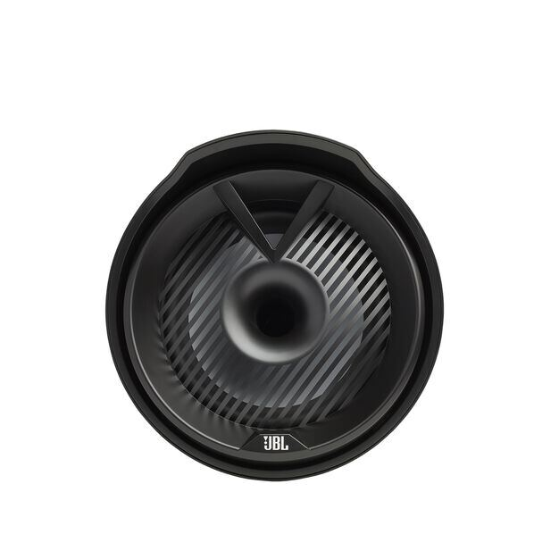 "JBL Tower X Marine MT8HLB - Black Gloss - 8"" (200mm) enclosed two-way marine audio tower speaker with 1"" (25mm) horn loaded compression tweeter – Black - Front"