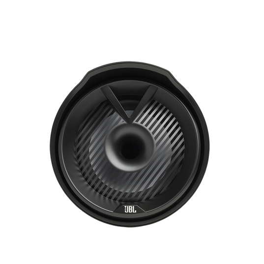 """JBL Tower X Marine MT8HLB - Black Gloss - 8"""" (200mm) enclosed two-way marine audio tower speaker with 1"""" (25mm) horn loaded compression tweeter – Black - Front"""