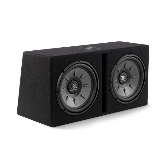 "Stage 1220B subwoofer enclosure - Black - Dual 12"" Stage subwoofers mounted in a slot-ported enclosure - Hero"