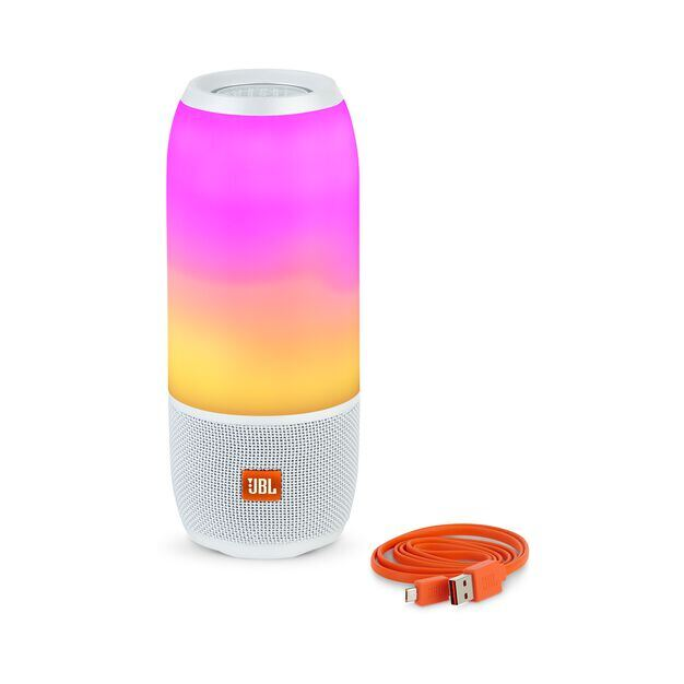 Pulse 3 - White - Waterproof portable Bluetooth speaker with 360° lightshow and sound. - Detailshot 2